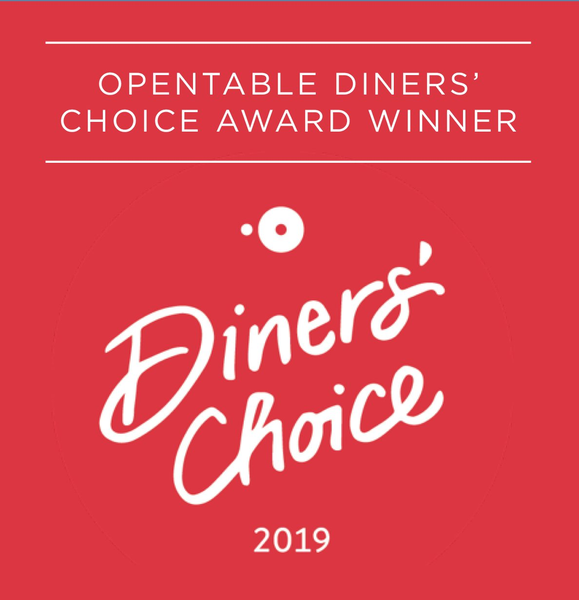 Opentable Diner's Choice Award Winner 2019